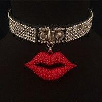 Handgemachten Punk Gothic Leder Halsband Fetisch Kragen Kristall Shiny Red Lippe Mund Kragen Halskette BDSM Cosplay