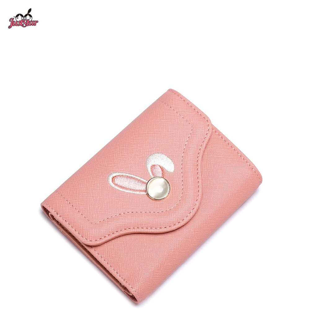 ФОТО Just Star Brand Design Cute Embroidery Crystal Bunny PU Women Leather Girls Ladies Small Short Wallets Cards Holder Coin Purse