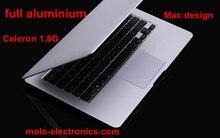 Free shipping 13.3inch ultrabook notebook computer 4GB and 128GB SSD aluminium laptop Intel Celeron 1037U dual core 1.8Ghz