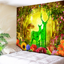 Large Natural Forest Hippie Psychedelic Wall Tapestry Rainbow Elk Tree Hanging Perfume Bottle Flower Cloth Boho Decor