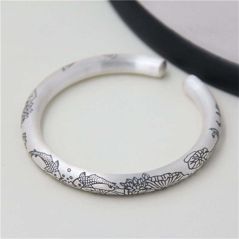 JINSE Every Year More Than Fish Lotus Sutra Opening Bangle 100% Real S999 Sterling Silver Bracelet Bangle For Men Women Jewelry