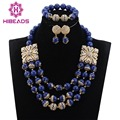 New Navy Blue Bridal Beads Indian Jewelry Sets African Fashion Women Jewellery Set 2017 Valentine Gift Free Shipping WD610