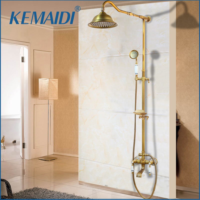 KEMAIDI Antique Brass Shower Bath Faucet Sets Wall Mounted EXposed 8 Rainfall Shower Mixers with Sliding Soap Dish / HandshowerKEMAIDI Antique Brass Shower Bath Faucet Sets Wall Mounted EXposed 8 Rainfall Shower Mixers with Sliding Soap Dish / Handshower