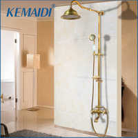 """KEMAIDI Antique Brass Shower Bath Faucet Sets Wall Mounted EXposed 8"""" Rainfall Shower Mixers with Sliding Soap Dish / Handshower"""