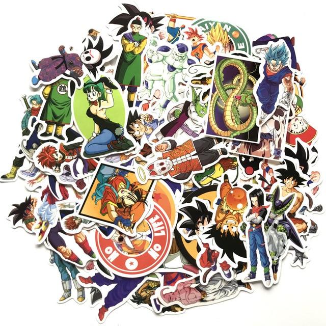 100Pcs/lot Anime Dragon Ball Stickers Super Saiyan Goku Stickers Decal for Snowboard Luggage Car Fridge Laptop Moto DIY Sticker