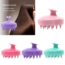 5 Colors Handheld Silicone Scalp Shampoo Massage Brush Washing Shower Hair Comb Mini Head Meridian Massage Comb(China)