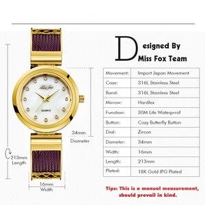 Image 3 - MISSFOX elbise bilek saatler kadın markaları için cenevre bayanlar saatler kadın paslanmaz çelik bilezik moda bayan altın izle