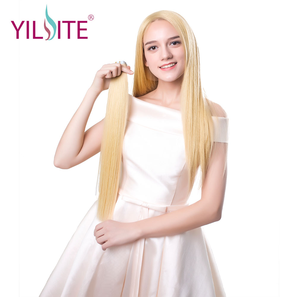 YILITE Tape In Remy Human Hair Extensions Full Cuticle Seamless Straight Skin Weft Hair 8 Colors 16-18-20 20pcs/pack