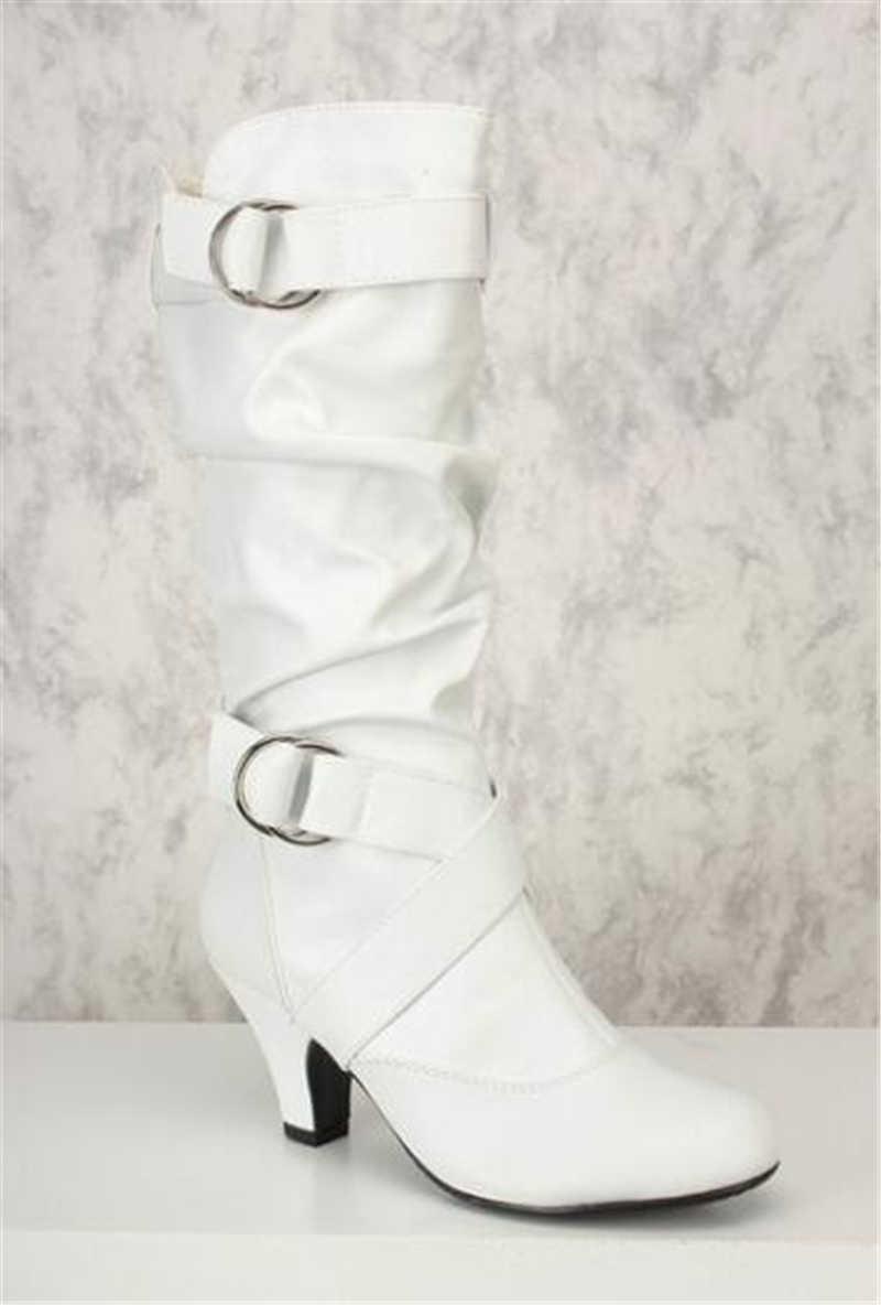 BONJOMARISA 2019 Yeni Dropship Büyük Boyutu 35-43 Sonbahar Retro orta buzağı Çizmeler Kadın Moda Şövalye Çizmeler Kadın topuklu Ayakkabılar Kadın