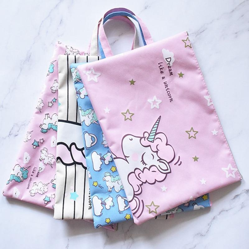 para documentos de oficina etc. 5 bolsas de pl/ástico transparente con dise/ño de unicornio escuela