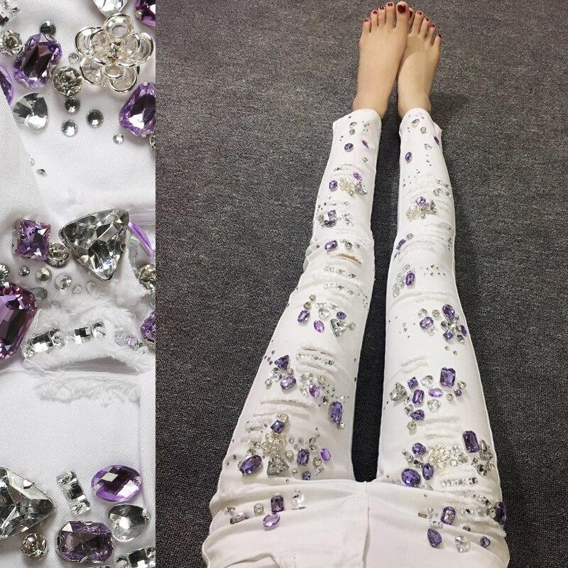 Jeans Pants For Women 2019 Purple Bead Diamond Denim White Trousers Female Jeans Fashion Vintage Plus