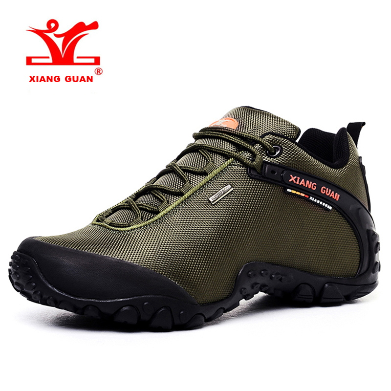 2017 XIANG GUAN Large Size Men Hiking Shoes Breathable Outdoor Climbing Shoes Sports Shoes Brown Green Black Free Shipping 81283 2016 new couple hiking shoes breathable non slip outdoor sports shoes large size climbing shoes for men and women