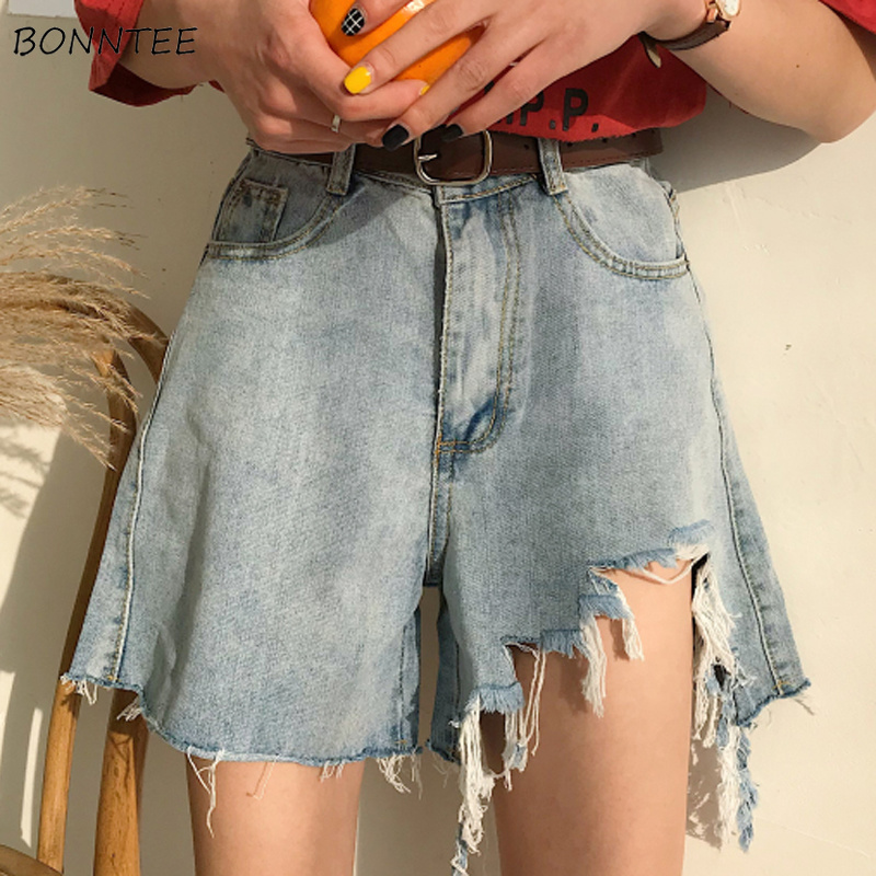 Shorts Women Korean Version Ulzzang Loose Hole Wide Leg Female Student Womens Retro Summer Trendy High Quality Ladies Solid 2019