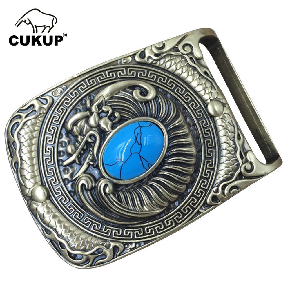 CUKUP New Arrival Dragon Real Jade Decorative Brass Buckle Metal 3.7-3.9cm Wide Belt Western Cowboy Buckles Only For Men BRK021