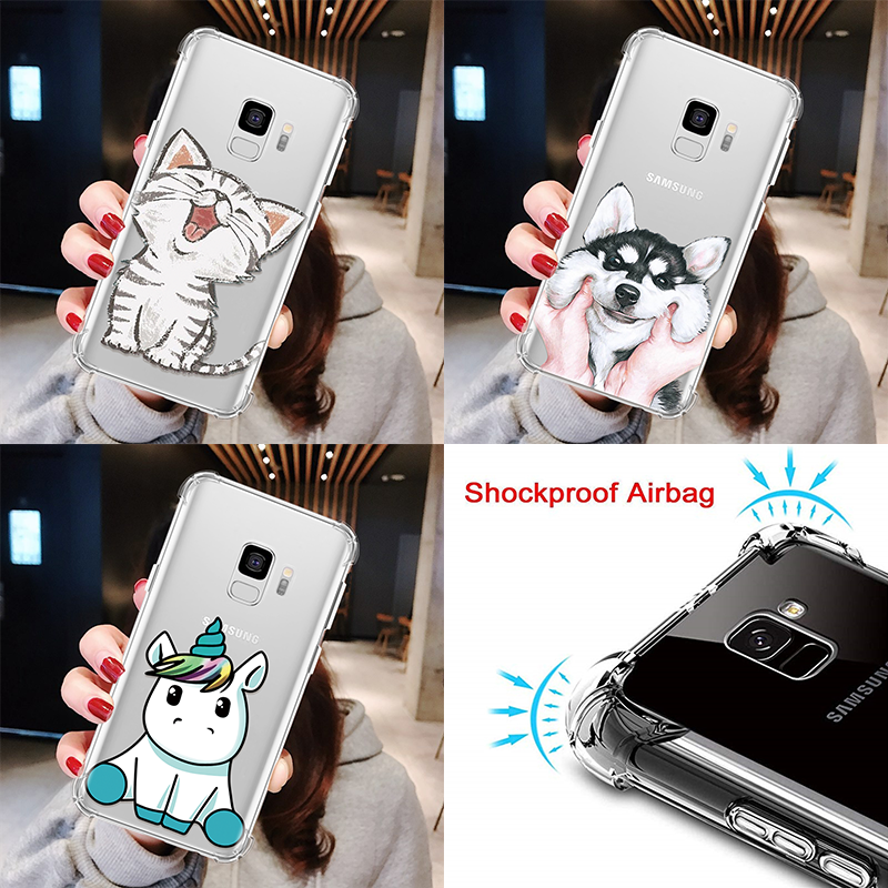 Shockproof Cute Case For <font><b>Samsung</b></font> Galaxy A6 A8 Plus J4 J6 <font><b>A9</b></font> A7 2018 J2 J5 J7 Prime J3 <font><b>2016</b></font> 2017 S8 S9 S10 Airbag Clear TPU Funda image