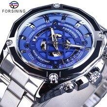 Forsining 2018 classique en acier inoxydable argenté mode cadran bleu avec aiguilles lumineuses montres automatiques pour hommes haut de gamme de luxe