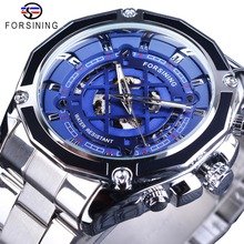 Forsining 2018, esfera azul de moda de acero inoxidable plateado clásico con manos luminosas, relojes automáticos para hombres, de marca superior de lujo