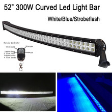 52 inch 300W White Blue Dual Color Switched Strobe Led Curved Work Light Bar Combo Remote control For Off-Road Driving Truck