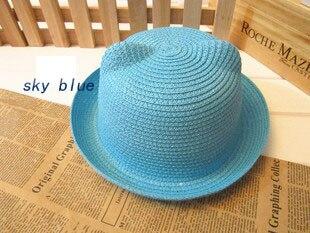 [DINGDNSHOW], модная соломенная шляпа, Летний стиль, для взрослых, украшение в виде ушей, прекрасная соломенная шляпа от солнца, одноцветная широкополая Панама для женщин - Цвет: sky blue adult