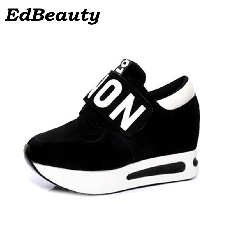 New 2017 spring Wedges High Heels thick soled Ladies Casual Single Shoes autumn Women MAGIC TAPE platform shoes chaussure femme women harajuku cartoon lace up wedges platform shoes 2015 casual shoes trifle thick soled graffiti flat shoes ladies creepers