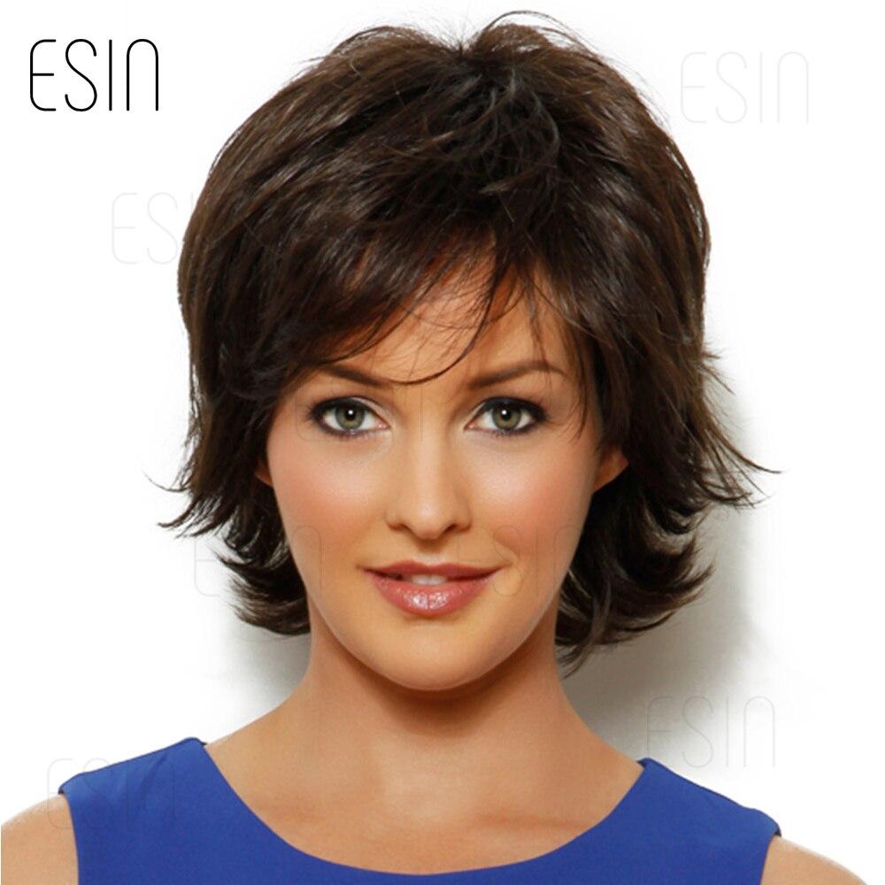 ESIN Женский парик средней длины 5 оттенков 70% натуральные 30% синтетические волосы Естественная линия виска, пряди у лица, легкий объем на маку...