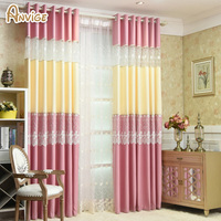 Cartoon Princess Pink Blue Embroidered Curtains For Kids Room Babys Room Girls Room Customize Curtain Window