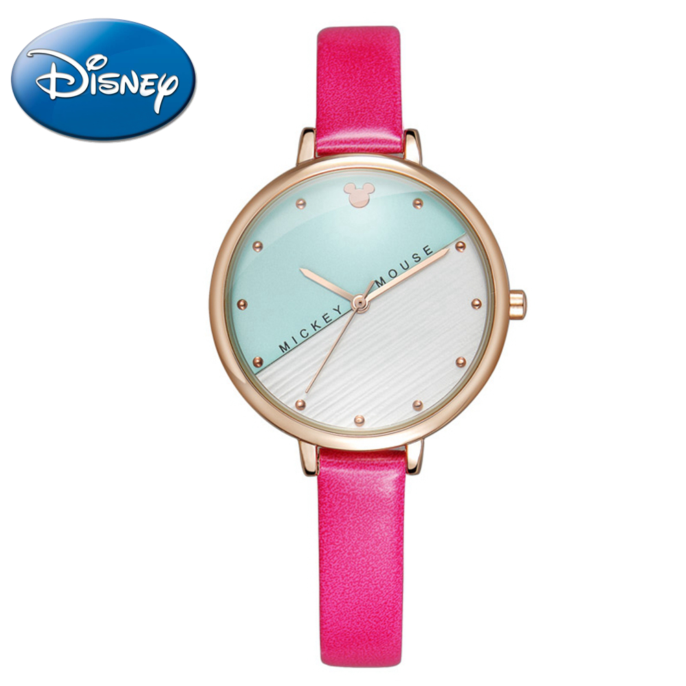 Beautiful Disney Simple Fashion Casual Girls Wristwatch Mickey Mouse Colour Classic Leather Band Watch Hot Princess Women Clock|Women's Watches| |  - title=