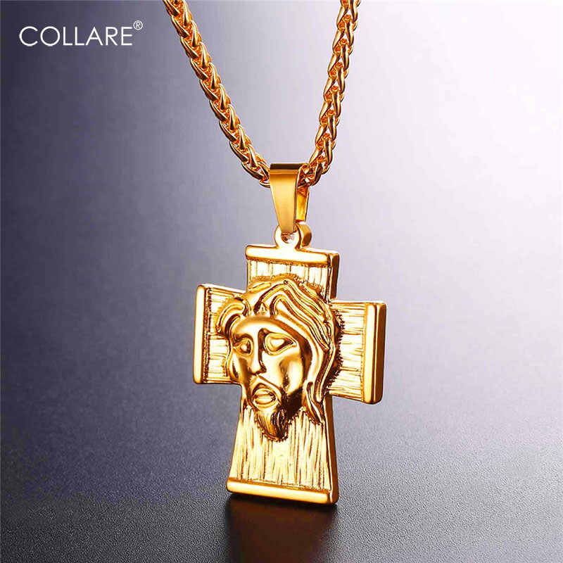 Collare Big Cross Pendant Gold/Black Color 316L Stainless Steel Christian Men Jewelry Jesus Piece Necklace Women P111