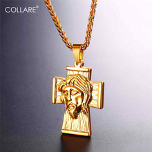 Collare Big Cross Pendant Gold/Black Color Stainless Steel Christian Men Jewelry Jesus Piece Necklace Women P111