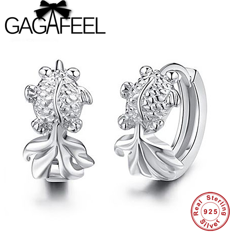 Hot Sale New wholesale 100% Genuine 925 sterling silver jewelry cute goldfish hoop earring for women Free shipping YEHT-0004