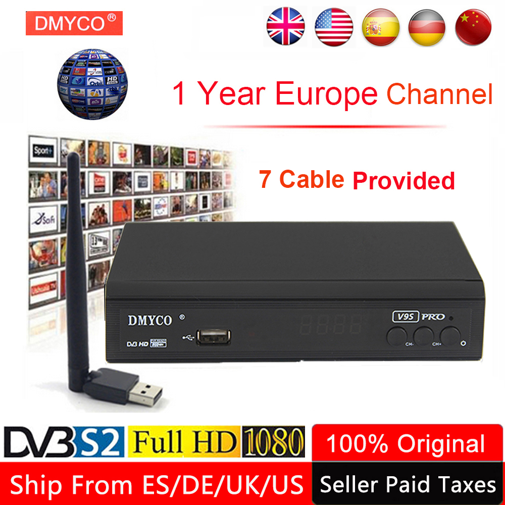 1 Year Europe Channel Server Satellite Receiver V9S Pro DVB S2 LNB TV Tuner Receptor 1080P Poland Spain TV Box Decoder +USB WIFI