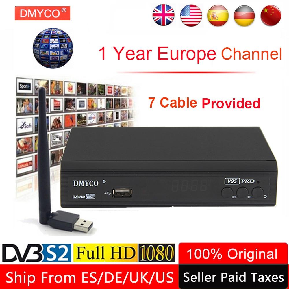 1 ano Europa Canal Receptor de Satélite Servidor S2 V9S Pro DVB Sintonizador de TV LNB Receptor 1080P Polónia Espanha TV decodificador caixa + USB WI-FI