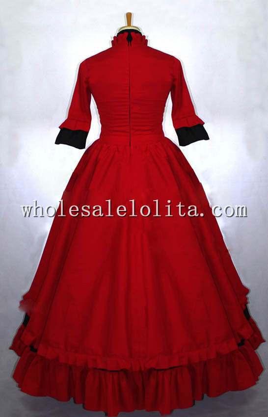 Готический Красный и Черный Викторианской Платье Бал-Маскарад Платье Готический Период Dress