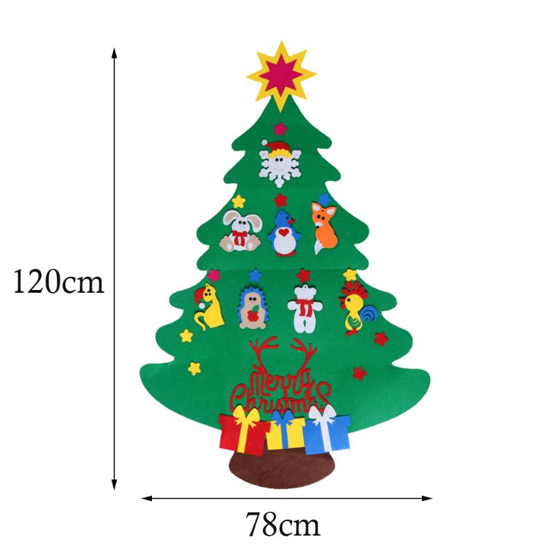 DIY Stereo Felt Christmas Tree with Decorations Door Wall Hanging Children Gifts New Year navidad Christmas Decorations for home