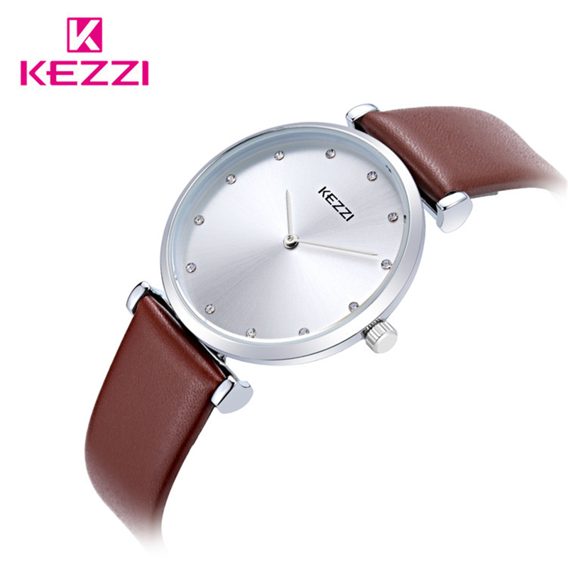 KEZZI Top Brand Fashion Lovers Classic Genuine Leather Strap Quartz Watch Couple Watches Men Women Wristwatches Relojes k1646 classic ulzzang brand vintage genuine leather women men lovers quartz wrist watch gift black white brown