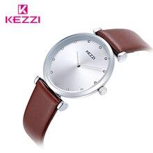 KEZZI Marca de Fábrica Superior Amantes de La Moda Clásica de Cuero Genuino Correa de Reloj de Cuarzo Pareja Relojes Hombres Mujeres relojes de Pulsera Relojes k1646
