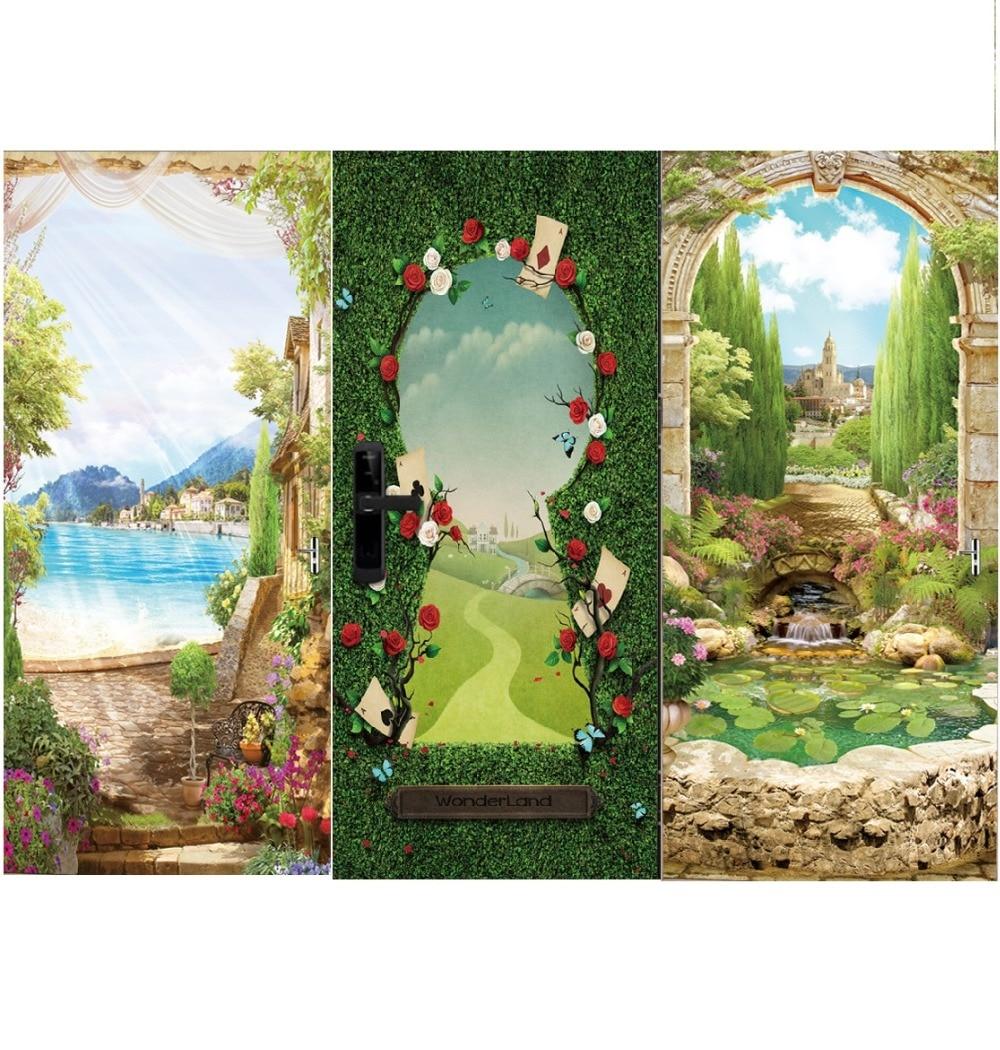 Красивые гардерн трава горная Зеленая дверь фрески настенная роспись декор для двери настенные двери наклейки обои настенная роспись «сделай сам» дом-in Настенные наклейки from Дом и животные