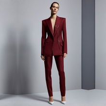 Wine Red Jacket+Pants Womens Business Suits Office Uniform Designs Women Elegant Formal Ladies Trouser Suit 2 Piece Sets Custom