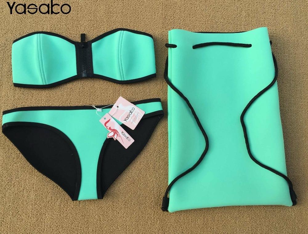 YASAKO Summer Women's Neoprene Bikini Sexy Zipper Neoprene Swimwear Bikini Set High Quality Neoprene Bathing Suit free shipping 2017 crochet neoprene bikini set new style swimwear bikini sexy bikini bathing suit