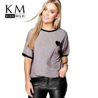 Kissmilk 2017 Big Size Fashion Women Clothing Casual Basic Heart Print T Shirt Top O Neck