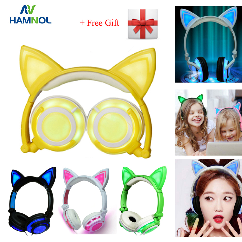 HAMNOL Stereo Wired Glowed Cat Ear headphones with LED Flashing Light Gamer Headset Cat Earphones for PC Computer Mobile Phone foldable flashing glowing cat ear headphones gaming headset earphone with led light luminous for pc laptop computer mobile phone