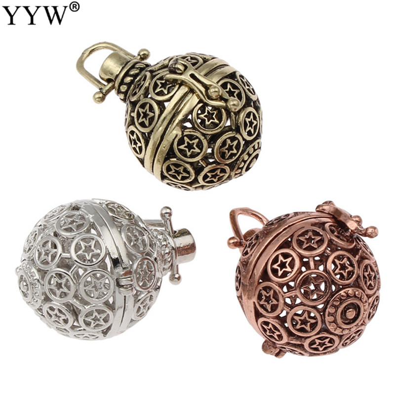 Fantastic Antique Plated Cages Pregnant Angel Baby Music Bola Calling Pendant Hollow Carved fit Musical Sound Bell Ball Locket