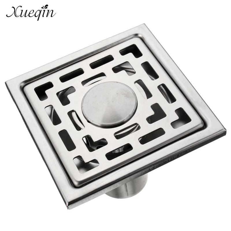 ФОТО Xueqin Free Shipping Bathroom Floor Drain Stainless Steel Shower Room Kitchen Home Square Drain Drainer Water Outlet Fliter