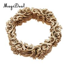 MagiDeal 12pcs Vintage Blank Round Flower Wreath Wooden Craft Hanging Gift Tags Labels Ornament DIY Craft