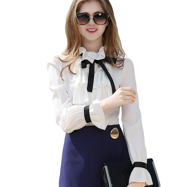 2018 Spring Summer Women White Blouse With Black Bowknot Long Flare