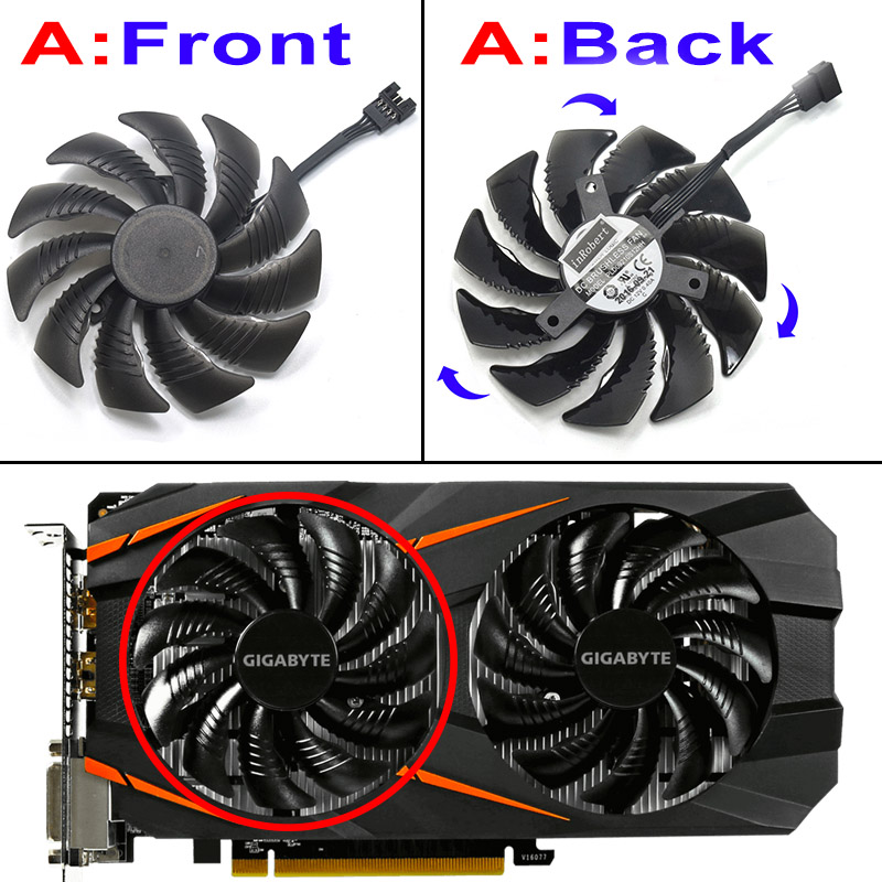 Image 3 - New 87MM PLD09210S12HH 0.40A 4Pin Cooling Fan For Gigabyte GeForce REDEON AORUS RX580/570 GIGABYTE GV RX5 Video Card Cooler Fans-in Fans & Cooling from Computer & Office