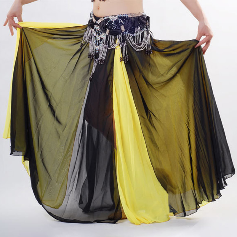 New Belly Dance Skirt Dance Skirt Double Color Misalignment New Sexy Senior Satin Split Skirt Slit Skirt