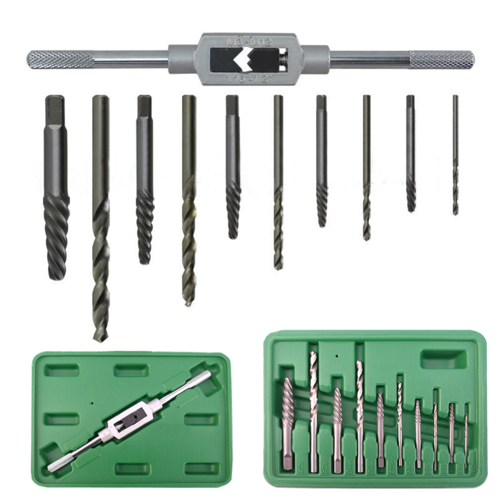 Red 10-Piece Vermont American 21829 Spiral Flute Screw Extractor and Drill Bit Set