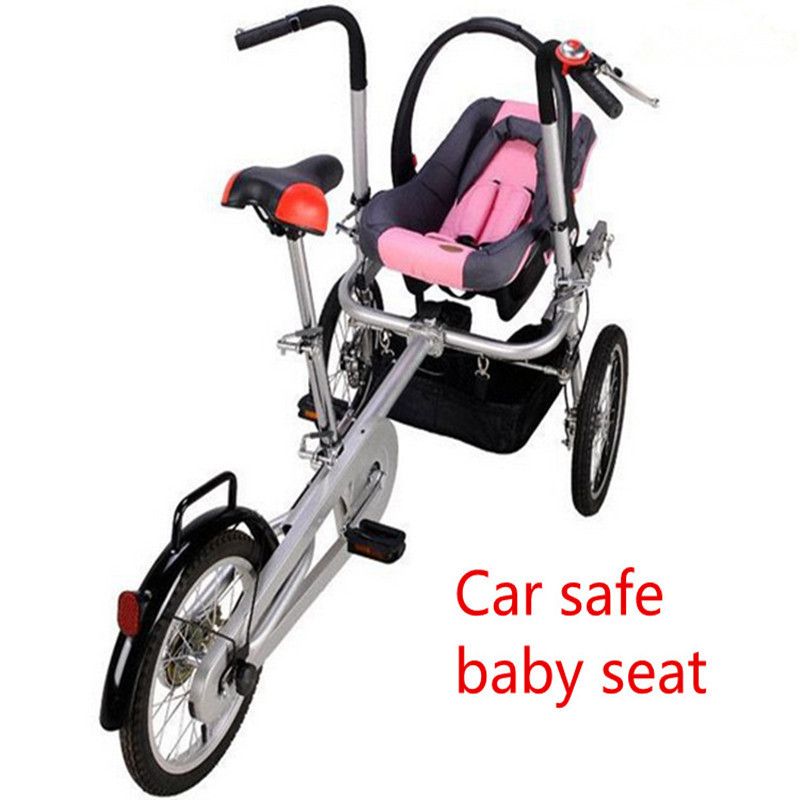 2018 Infant Baby Three Wheels Bike Stroller Newbore Eed Color Trolley with Car Safety Seats 3 in 1 Prams with Sleeping Basket 2017 real sale bicicleta infantil kids scooter bikes four flash wheels breaststroke baby swing bike ride on toy more safety