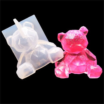 Qiaoqiao diy 3D bear silicone mold geometry stereo mirror decoration ornament